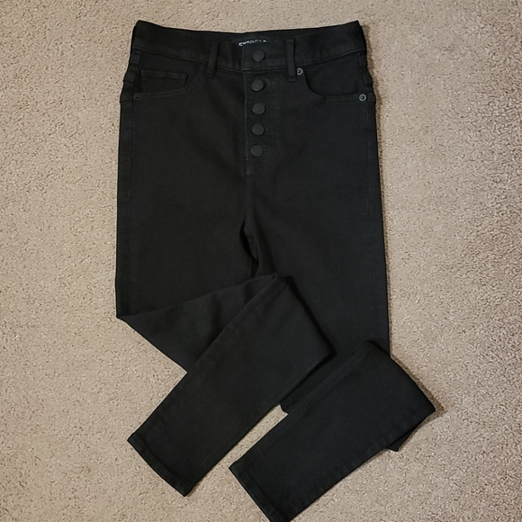 Express Button Up Fly Black Skinny Jeans 0